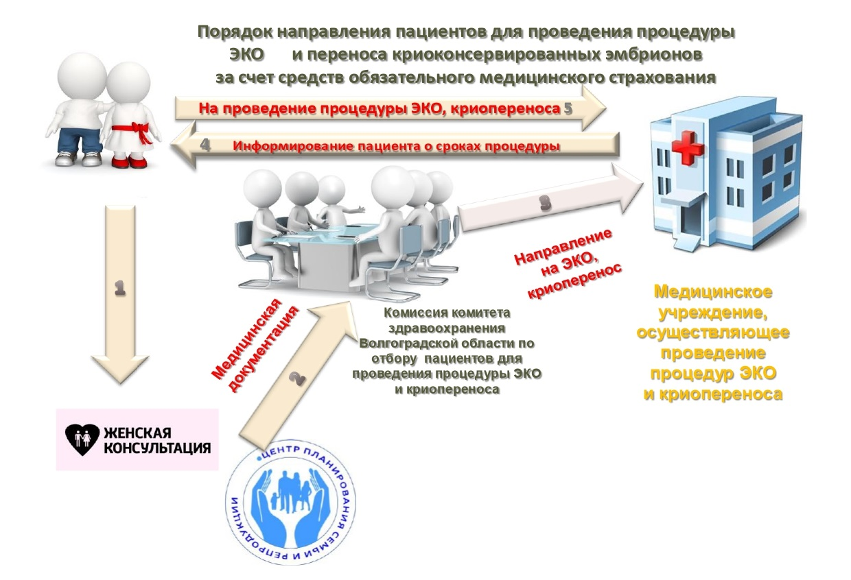 Порядок направления пациентов для проведения процедуры ЭКО и переноса криоконсервированных эмбрионов за счет средств обязательного медицинского страхования