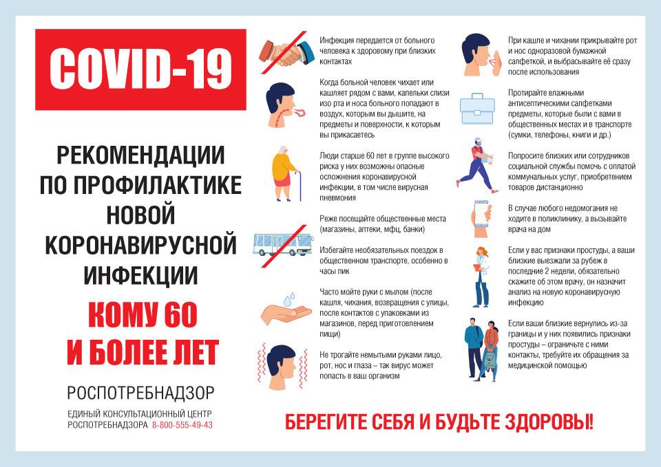 листовка рекомендации по профилактике новой коронавирусной инфекции для тех кому 60 и более лет