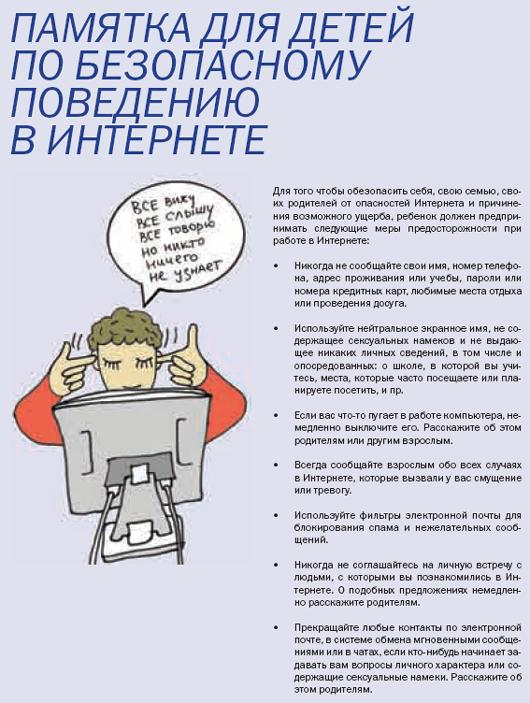 Памятка для детей по безопасному поведению в интернете